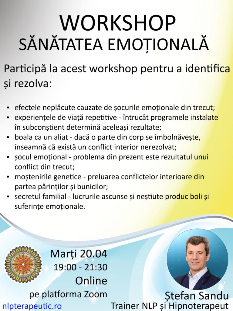 Workshop de sănătate emoțională